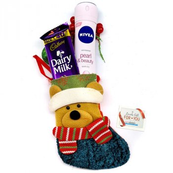 Nivea Fragrance Spray and Chocolate Stuffed Bear Stocking for Her
