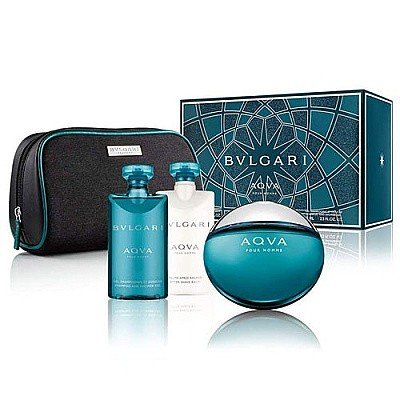 Bvlgari Aqva Pour Homme Set For Him (Perfume, After Shave, Shower Gel)