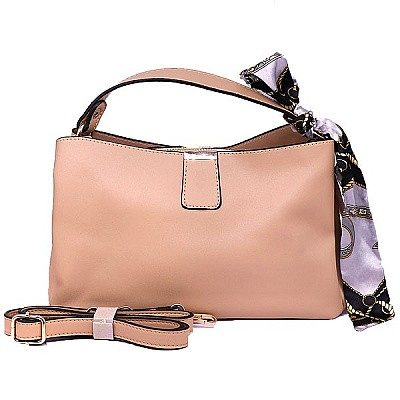 Trendy Ribbon Stripe Ladies Hand Bag - Apricot