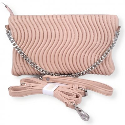 Light Pink Clutch Purse With Chain Closure
