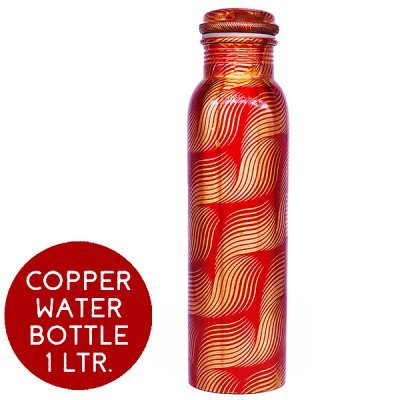 Pure Copper Water Bottle Printed Design (06) - 1 Litre