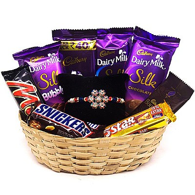 Attractive Chocolate Gift Basket With Rakhi Thread