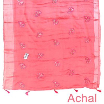 Floral Embroidered Pink Chiffon Saree