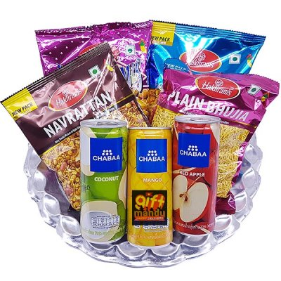 Savory Namkeens and Juice Can Snack Hamper Tray