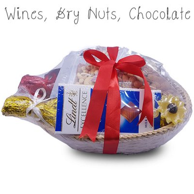Celebrations Gift Basket (Wines, Dry Nuts and Chocolate)