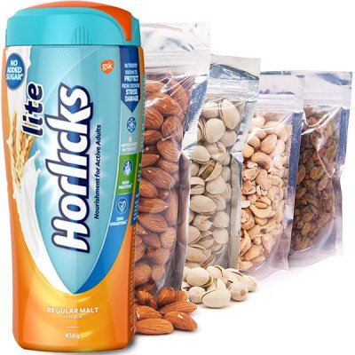 Nature's Best Dry Nuts and Sugar Free Lite Horlicks