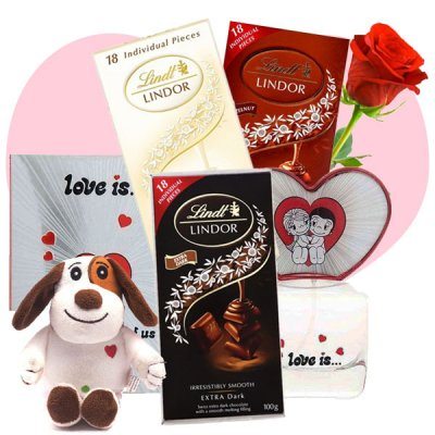 Love Is Perfume Spray, Cutey Puppy and 3xLindt Chocolates for Her (Free Rose)