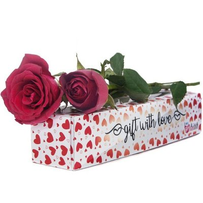 You & I Together - Two Roses in Special Hearts Printed Box