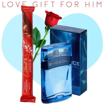 Police B-Cool Perfume, Lindt Lindor Stick Chocolate (With Free Rose) for Him