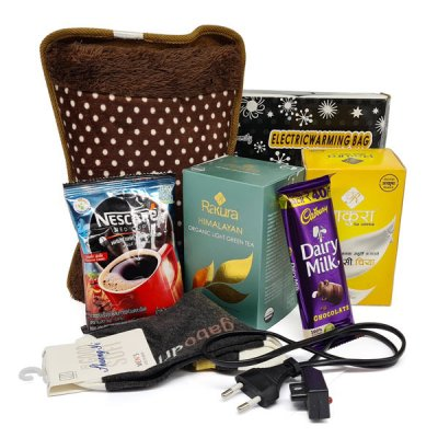 Winter Gift Hamper - Electric Hot Bag, Tea, Coffee, Pair of Socks and Dairy Milk
