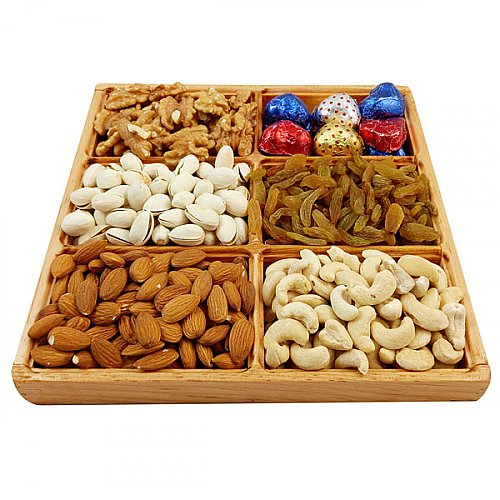 Dry Nuts Wooden Tray (Home Special Healthy Bites)