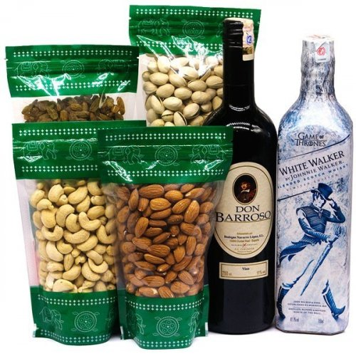 JW White Walker With Red Sweet Wine & Dry Nuts