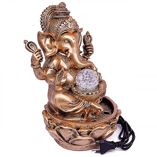 Lord Ganesha Water Fountain with LED Lights and Water Pump