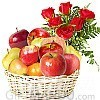 Fresh Seasonal Fruit Basket and Red Roses Bunch