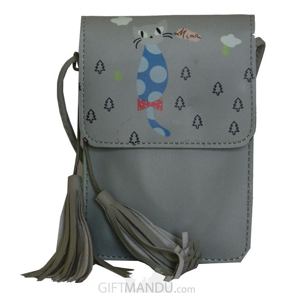 Soft Leather Mini Portable Cash Wallet Mobile Phone Single Shoulder Bag-(Light Grey)