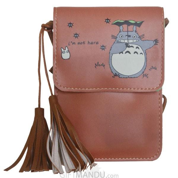 Soft Leather Mini Portable Cash Wallet Mobile Phone Single Shoulder Bag-(Brown)