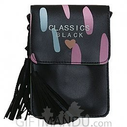 Soft Leather Mini Portable Cash Wallet Mobile Phone Single Shoulder Bag-(Black)