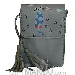 Soft Leather Mini Portable Cash Wallet Mobile Phone Single Shoulder Bag-(Light Grey)