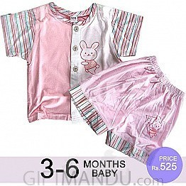 Two Pcs Half Sleeve and Half Pant Set - Pink ( 3 - 6 Months)
