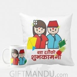 Printed Cushion And Coffee Mug For Bijaya Dashami