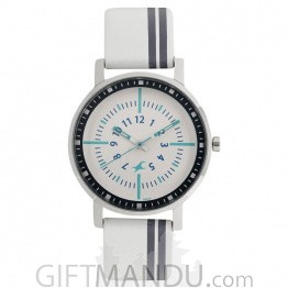 Fastrack Varsity White Dial Analog Watch for Women- 6172SL01