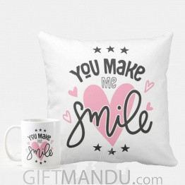 You Make Me Smile Printed Cushion And Coffee Mug
