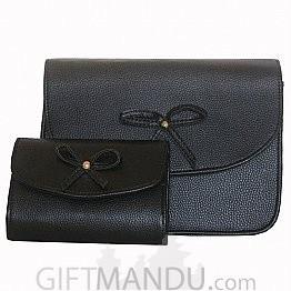 Ladies Side Bag with Mini Purse -Black