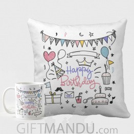 Special Birthday Gift Printed Cushion And Coffee Mug