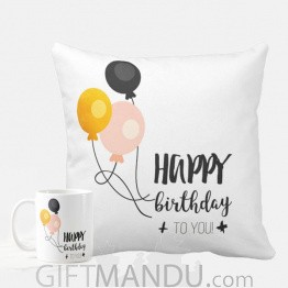 Happy Birthday Printed Cushion And Coffee Mug