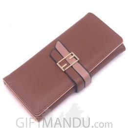 Beautiful Leather Ladies Hand Bag - Brown
