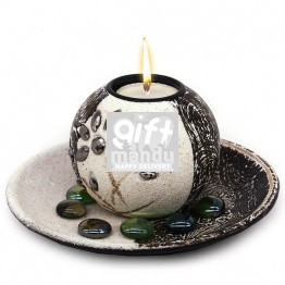 Beautiful Candle Holder On Wooden Plate
