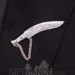 Silver Khukuri Brooch for Men