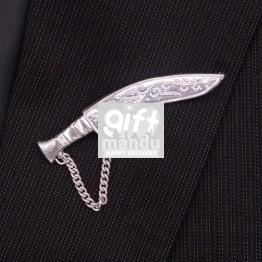 Silver Khukuri Brooch for Men