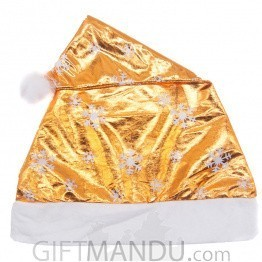 Metallic Gold Christmas Santa Cap