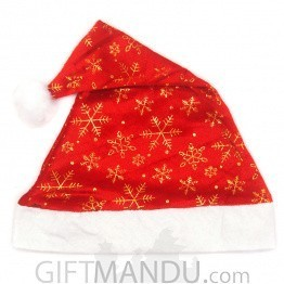 Red Snowflake Christmas Santa Cap