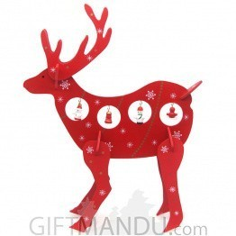 Attractive Wooden Reindeer Showpiece with Decoration