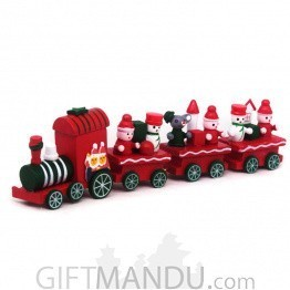 Christmas Decoration Wooden Train Showpiece