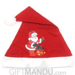 Santa With Gifts Printed Christmas Cap