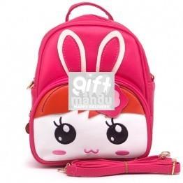Cute Girl Rabbit Design Backpack - Pink