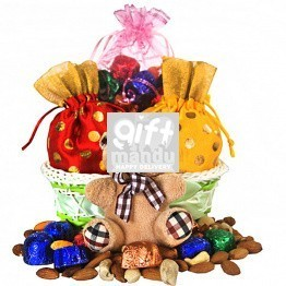 Beautiful Basket Full Of Dry Nuts, Chocolate Pouch And Cute Teddy
