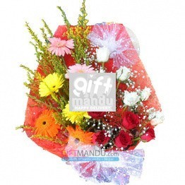 Mix Roses Gerbera Daisy Bright Basket - Send gifts to Nepal