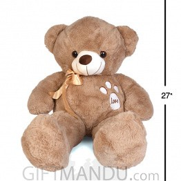 "Grey Teddy Bear Paw Love Embroidery (27"" Tall)"