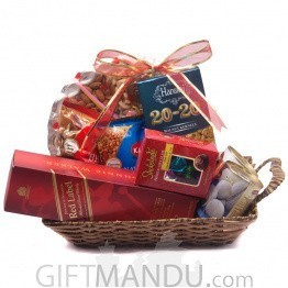Dry Nuts, Chocolate & Beverage Hamper for Dashain - 11 Items