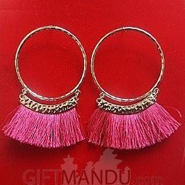 Silver Hoop Tassel Earrings with Pink Thread