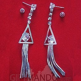 Traingle Shape with Shining Stone Earring with Silver Color
