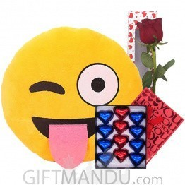 Tongue Out Winking Emoji With Rose & Chocolates