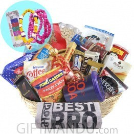 Tihar Healthy Basket with Bhai Tika Mala Set & T-shirt