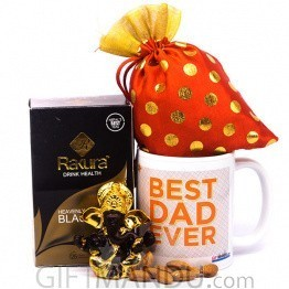 Best Dad Mug With Nut, Statue & Tea