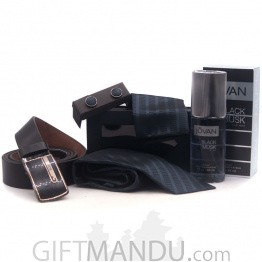 Tie Pocket Square Set With Belt & Perfume Combo For Him - (5 items)