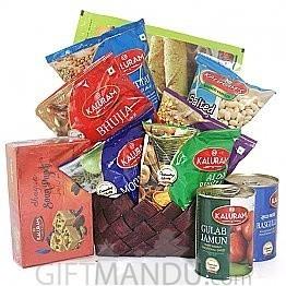Sweets Namkeens Basket Hamper for Mother's Day - (10 items)